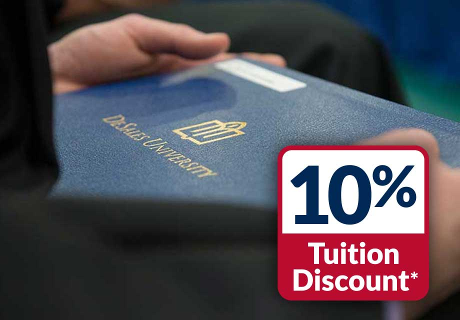 10 percent tuition discount*  logo and DeSales Diploma