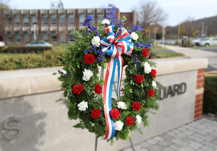 veterans wreath on DeSales campus