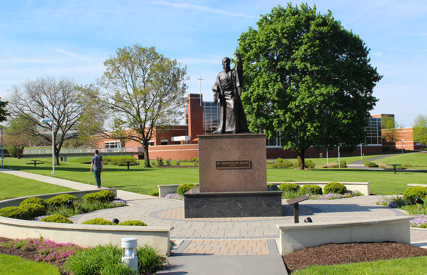 St Francis de Sales statue on campus