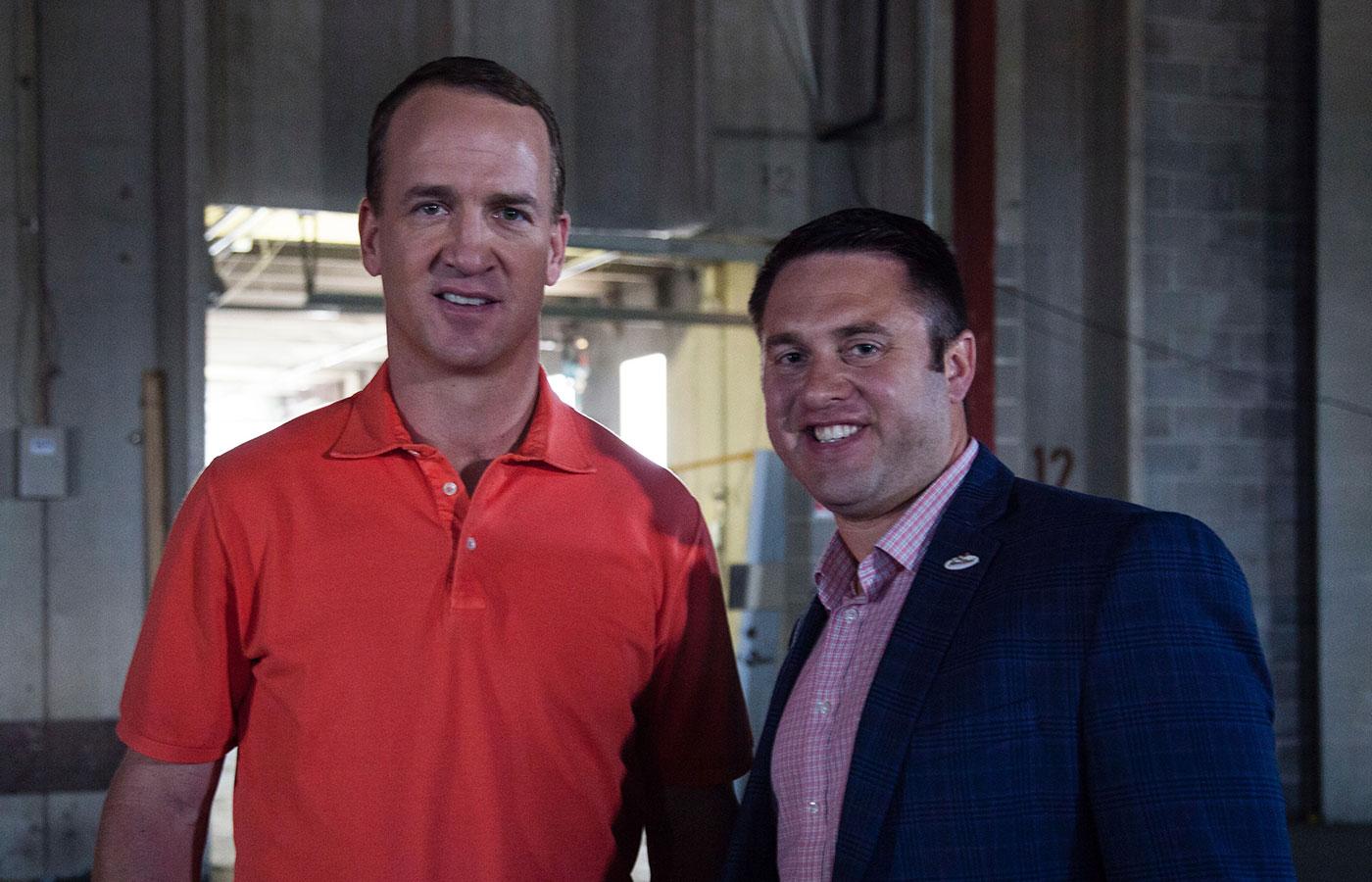 DeSales alum Dedan Brozino with Peyton Manning