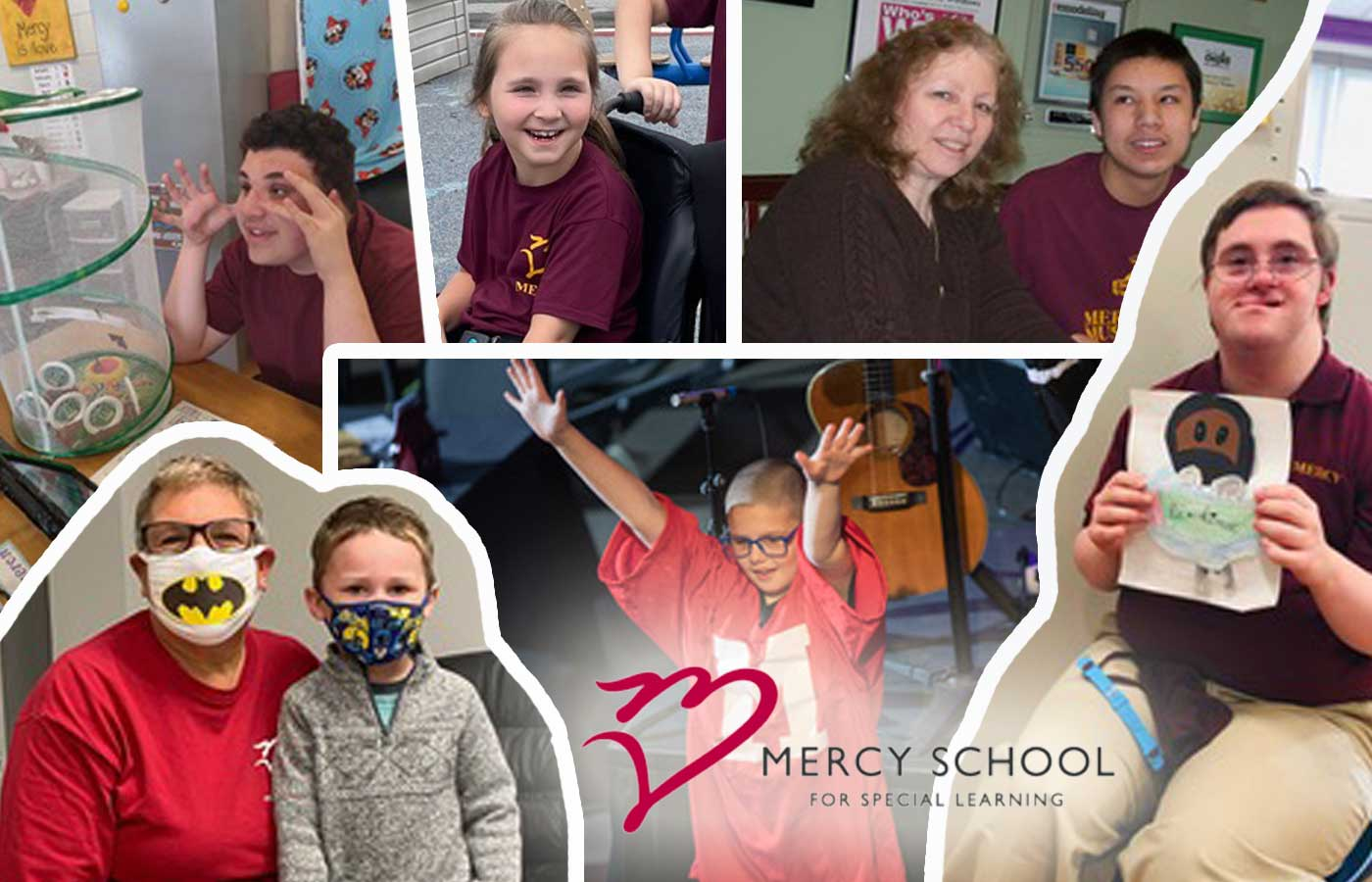images of students from Mercy School in Allentown, PA. Used with permission 2021.