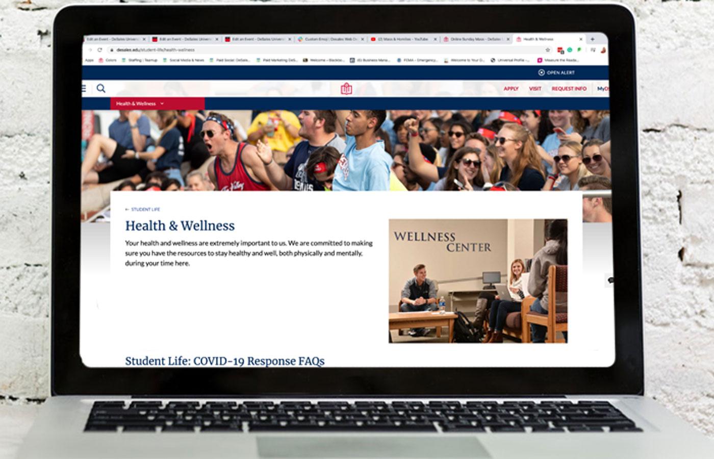 DeSales Wellness Center website displayed on a Laptop
