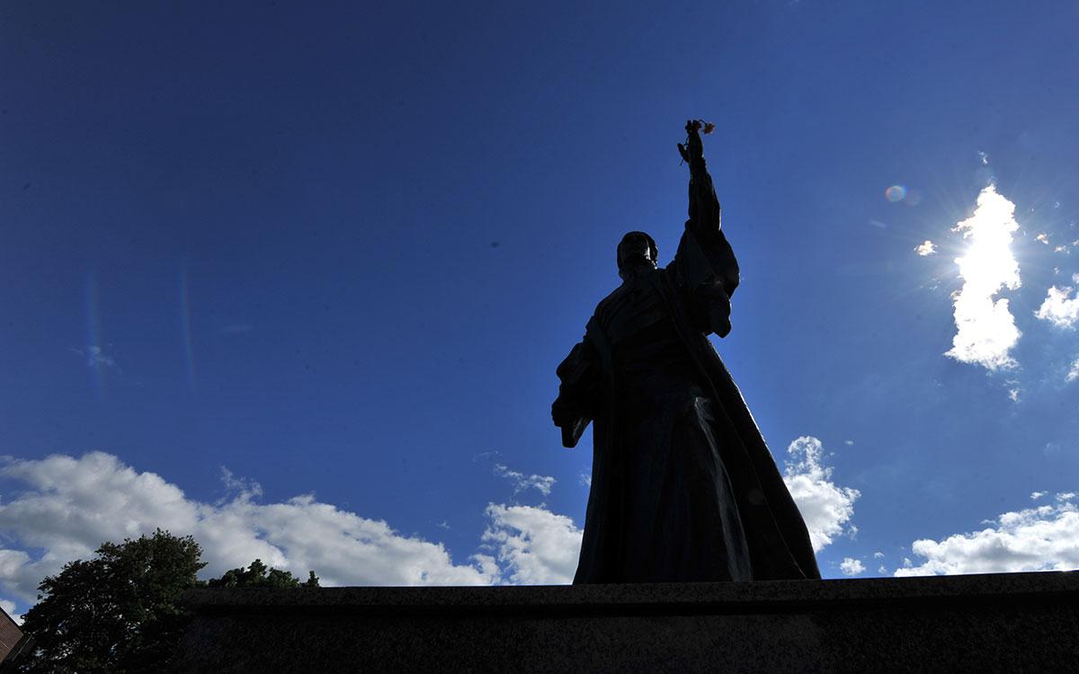 St Francis DeSales Statue Silhouette